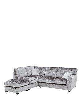 Very Glitz Fabric Standard Back Left Hand Corner Chaise Sofa With Footstool Picture