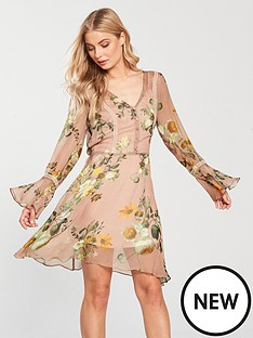 v-by-very-fluted-sleeve-midi-dress-blush-floral