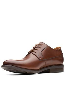 Clarks Clarks Becken Wide Fit Plain Leather Lace Up Shoe - Tan Leather -  ... Picture