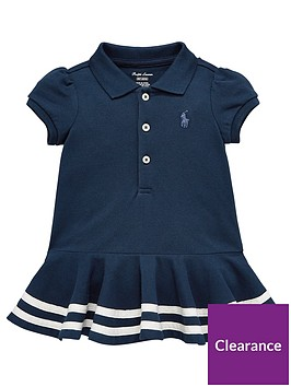 Girls Polo Sleeve Baby Striped Short Dress Shirt Navy WD9EH2I