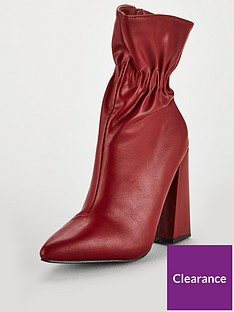 3f95a39c8e6 Lost Ink Jordan Flared Heel Ankle Boot - Red