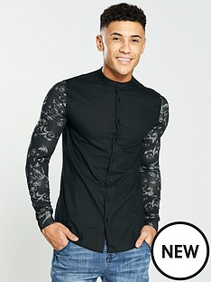 sik-silk-contrast-sleeve-grandad-shirt