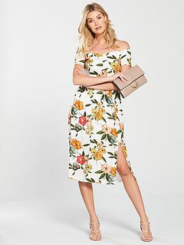 v-by-very-ruched-bardot-midi-dress-white-floral