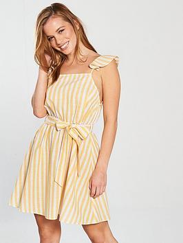 miss-selfridge-petite-stripe-dress-yellow-stripenbsp