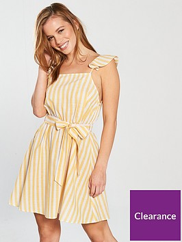 miss-selfridge-petite-stripe-dress-yellow-stripenbsp