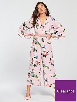 201fc500611 Miss Selfridge Pink Floral Lace Insert Jumpsuit