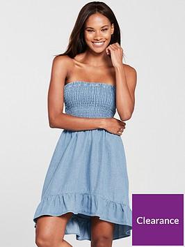 miss-selfridge-miss-selfridge-bandeau-sheered-denim-mini-dress