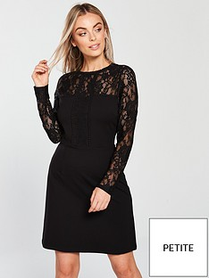 v-by-very-petite-lace-ponte-mix-dress-blacknbspnbsp