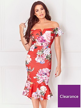 jessica-wright-juliane-bardot-dress-floral