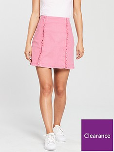oasis-denim-ruffle-skirt-pink