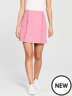 oasis-pink-denim-ruffle-skirt