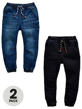 mini-v-by-very-2-pack-pull-on-carrot-fit-jeans-dark-wash-and-black