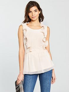 vila-saselina-sleeveless-peplum-top-with-ruffle-detail-peach-blush
