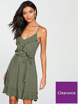 oasis-frill-front-dress-khaki
