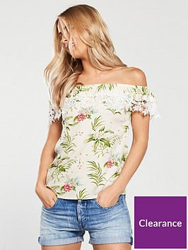 oasis-paradise-palm-lace-trim-bardot-top-print