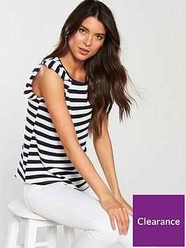 oasis-stripe-ruffle-shoulder-t-shirt-blue
