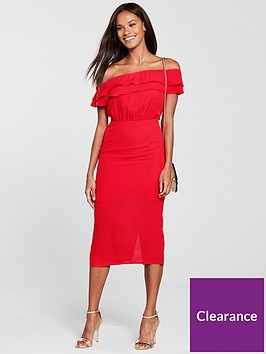 oasis-bardot-column-midi-dress-red