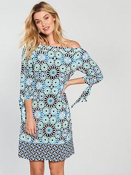 wallis-tile-bardot-dress-turquoise