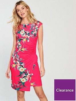 wallis-tropical-fern-ruched-side-wrap-dress-pink