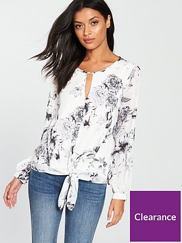 wallis-shadow-floral-tie-front-top-monochrome