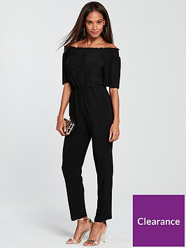 wallis-shirred-bardot-jumpsuit-blacknbsp