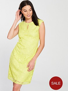 wallis-geometric-floral-lace-shift-dress-yellow