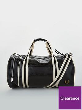 fred-perry-classic-barrel-bag-blackwhite