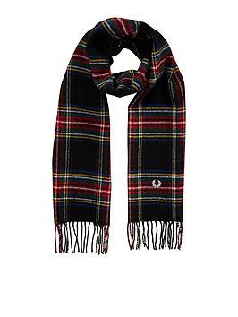 fred-perry-stewart-tartan-scarf-black