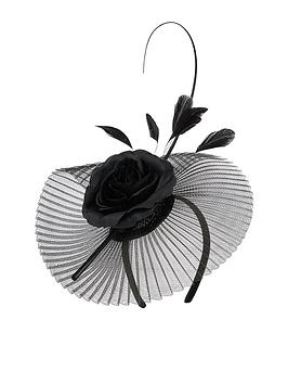 accessorize-silk-flower-and-pleated-fascinator-black