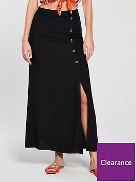 v-by-very-button-detail-maxi-skirt-black