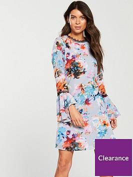 little-mistress-chiffon-print-fluted-sleeve-mini-dress
