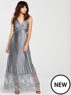 little-mistress-little-mistress-plunge-v-neck-satin-lace-botton-maxi-dress