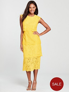 warehouse-tiered-lace-dress-yellow
