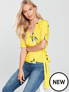 warehouse-daphnie-wrap-top-yellow-print