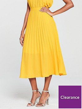 warehouse-pleated-midi-skirt-yellow