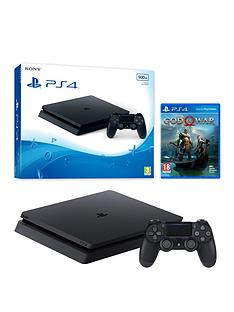 playstation-4-slim-500gbnbspblack-console-with-god-of-war-and-optional-extra-wireless-controller-andor-12-months-playstation-network