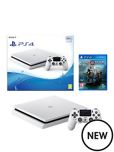 playstation-4-slim-500gbnbspwhite-console-with-god-of-war-plus-optional-extra-wireless-controller-andor-12-monthsnbspplaystation-network