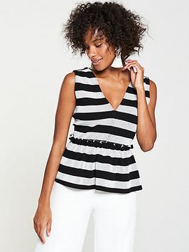 v-by-very-stripe-peplum-top-blackwhite