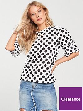 v-by-very-polka-dot-frill-trim-t-shirt-monochrome