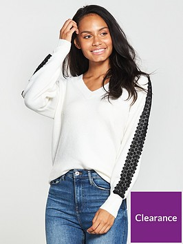 v-by-very-lace-sleeve-v-neck-slouch-jumper-cream