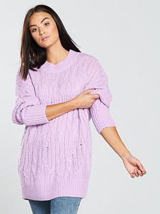 v-by-very-cable-knit-longline-jumper-lilacnbsp