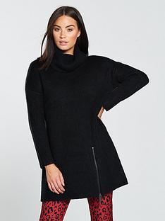 v-by-very-roll-neck-zip-detail-slouch-rib-longline-jumper-black