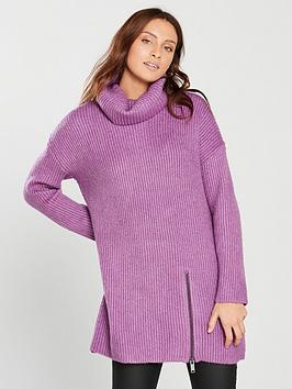 v-by-very-roll-neck-zip-detail-slouch-rib-longline-jumper-violetnbsp
