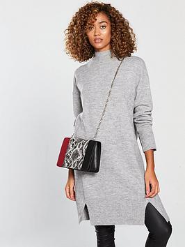 v-by-very-rib-detail-split-hem-slouch-knitted-jumper-dress-grey-marlnbsp