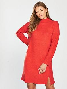 v-by-very-rib-detail-split-hem-slouch-knitted-jumper-dress-spicy-orange