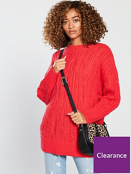 v-by-very-cable-knit-longline-jumper-poppy-rednbsp