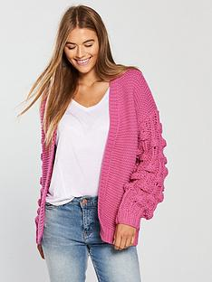 v-by-very-hand-crochet-pom-pom-sleeve-cardigan-pink