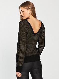 v-by-very-metallic-stripe-scoop-back-jumper-blackgold