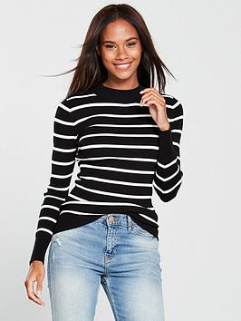 v-by-very-skinny-rib-turtleneck-jumper-stripe