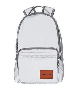 calvin-klein-jeans-silver-nylon-backpack